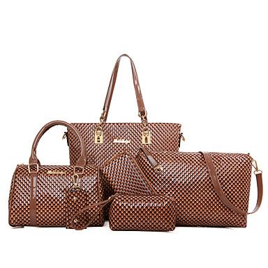 Kadın Çantalar PU 6 Adet Çanta Seti için Alışveriş Günlük Resmi Tüm Mevsimler Siyah Sarı Fuşya Kahverengi Mavi