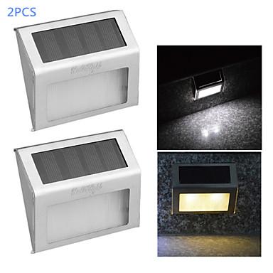 youoklight® 2adet 0.2W sıcak beyaz / beyaz ışık kontrolü, güneş duvar lambası 2 liderliğindeki - gümüş
