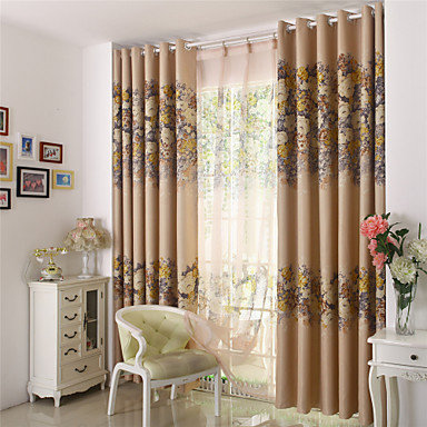 Rod Pocket Grommet Top Tab Top Double Pleat Pencil Pleat Two Panels Curtain Designer Country Modern Neoclassical Mediterranean Rococo