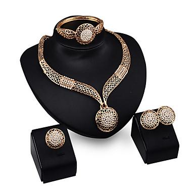 Mulheres Conjunto de jóias Bracelete / Brincos / Colares - Punhos / Vintage / Festa Dourado Conjunto de Jóias Para