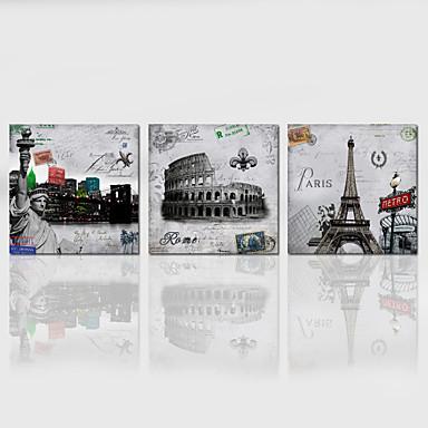 Manzara / Mimari / Vatansever / Modern / Romantik / Pop Art Kanvas Üç Panelli Hang Hazır , Dörtgen