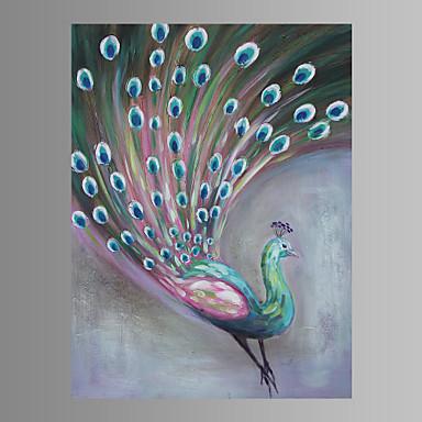 kézzel festett peafowl állati olajfestmény vászon falra art kép feszített keret készen áll a függő