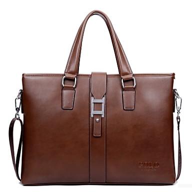 Men  Leather Type Formal / Office & Career Tote Brown / Black