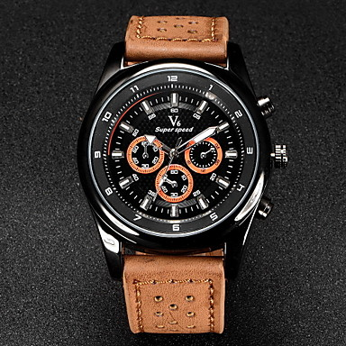 V6 Men's Quartz Japanese Quartz Wrist Watch Casual Watch Leather Band Charm Black Brown Khaki