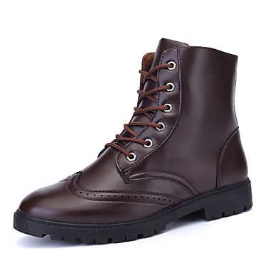 Erkek Ayakkabı Yapay Deri Bahar Yaz Sonbahar Kış Rahat Yenilikçi Patenli Ayakkabılar Bootiler/ Bilek Botları Bağcıklı Uyumluluk Atletik