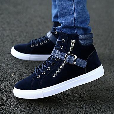 Alkalmi - Férfi cipő - Divatos teniszcipők - Bőrutánzat - Fekete / Kék