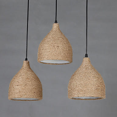 E27 5-15㎡ Line 1M 18*19CM Country Loft Bars Restoring Ancient Ways Hemp Rope Single Head Small Droplight LED Lamp
