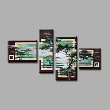 El-Boyalı Manzara / Soyut ManzaraModern Dört Panelli Kanvas Hang-Boyalı Yağlıboya Resim For Ev dekorasyonu