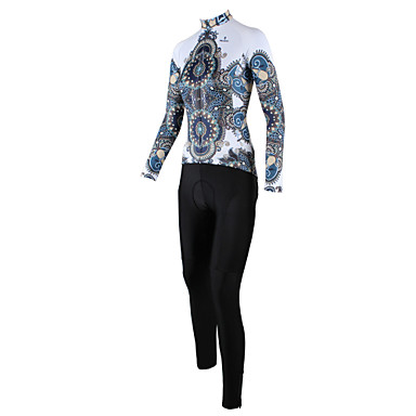 ILPALADINO Women's Long Sleeves Cycling Jersey with Tights - White/Black Floral / Botanical Bike Clothing Suits, Quick Dry, Breathable