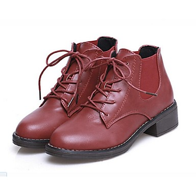 6aeb029a079 Zapatos de mujer - Tacón Bajo - Botines - Botas - Casual - Cuero - Negro    Marrón   Bermellón 4643207 2019 –  24.99