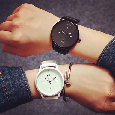 Erkek Bayanların Çiftlerin Moda Saat Quartz Silikon Bant Beyaz Siyah Kırmzı Mavi