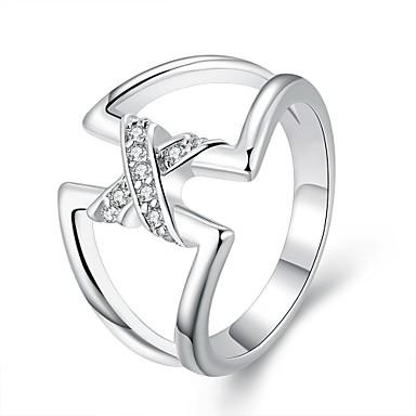 Dame Statement Ring Sølv Sølvplett Geometrisk Form Mote Enkel Stil Europeisk Fest Kostyme smykker