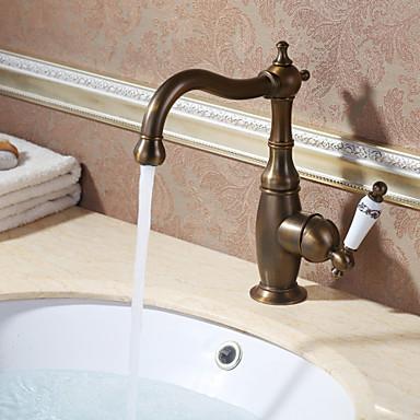 Torneira pia do banheiro - Rotativo Latão Antiquado Conjunto Central Monocomando e Uma Abertura