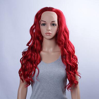 muoti synteettiset peruukit Nyörilliset peruukit 32inch löysä aalto punaiset lämmönkestävä peruukit naiset