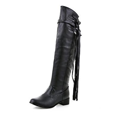 Støvler-Kunstlæder-Modestøvler-Dame-Sort / Brun / Hvid-Udendørs / Kontor / Hverdag-Lav hæl