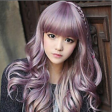 Synthetic Hair Wigs Wavy With Bangs Capless Long