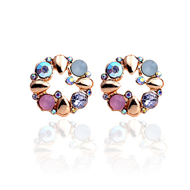 Women's Crystal Stud Earrings - Crystal, Rhinestone, Gold Plated Flower Luxury Rainbow For Party / Daily / Casual