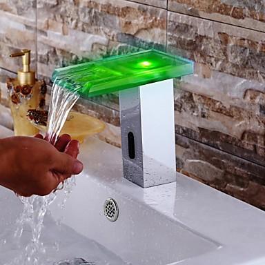 Moderne Vannrett Montering Foss Sensor Magnetventil Handsfree Et Hull Krom, Baderom Sink Tappekran
