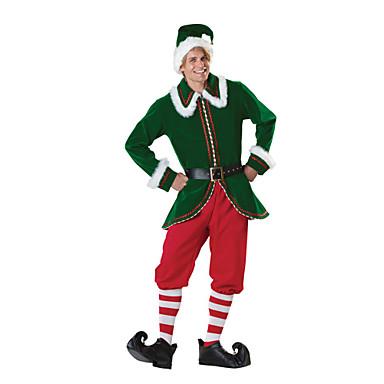 Zentai - Masculino - de Natal / Ano Novo - Ternos de Papai Noel - Fantasias - Top / Calças / Cinto / Aquecedores de Pernas / Chapéus