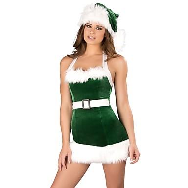 feb8e63e004b Cosplay Kostymer/Dräkter Tomtekostymer Festival/högtid Halloweenkostymer Grön  Klänning Strumpbyxor Hatt Jul Nyår Kvinna