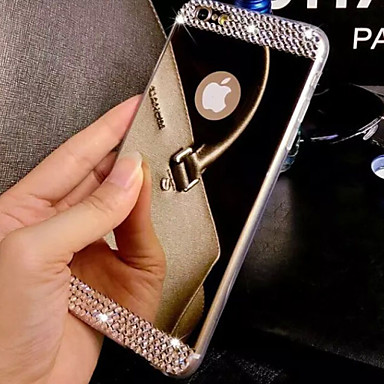 For iPhone 8 iPhone 8 Plus iPhone 7 iPhone 7 Plus iPhone 6 iPhone 6 Plus Case Cover Rhinestone Mirror Back Cover Case Solid Color Soft TPU