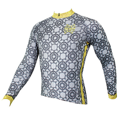 ILPALADINO Men's Long Sleeve Cycling Jersey - Gray Bike Jersey, Quick Dry, Ultraviolet Resistant, Breathable Polyester