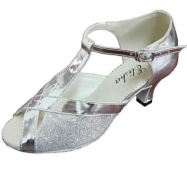 Women's Latin Leatherette Heel Customized Heel Black Red Silver Brown Gold Customizable