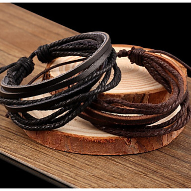 Women's Leather Bracelet Wrap Bracelet Vintage Casual Basic Plaited Multi Layer Handmade Leather Jewelry Jewelry Party Daily Casual