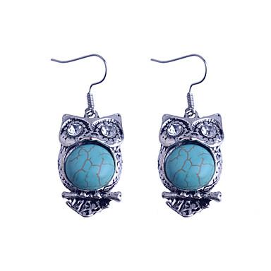 Vintage Style Turkey Blue Tophus Cute Owl Earring