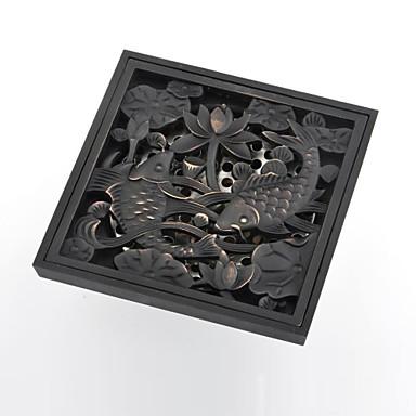 Contemporary Goldfish Pattern Square Antique Copper Brass Drain