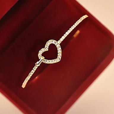 baratos Bangle-Mulheres Pulseiras com Pendentes Bracelete Coração Amor Coração oco senhoras Imitações de Diamante Pulseira de jóias Dourado Para Presente Diário Casual