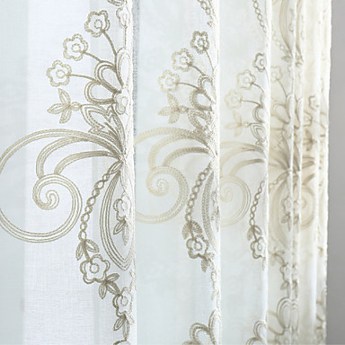 Grommet Top Double Pleat Two Panels Curtain Modern Neoclassical Country, Jacquard Solid Bedroom Linen/Polyester Blend Material Sheer
