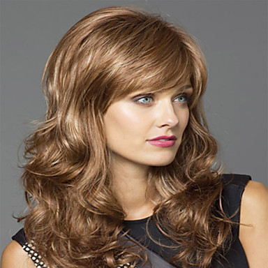 Syntetiske parykker Bølget Blond Syntetisk hår Blond Parykk Dame Medium Lengde Lokkløs Blond