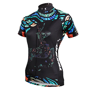 ILPALADINO Women's Short Sleeves Cycling Jersey - Black Bike Jersey, Quick Dry, Ultraviolet Resistant, Breathable