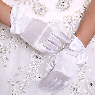 Stretch Satin Wrist Length Glove Bridal Gloves With Bow