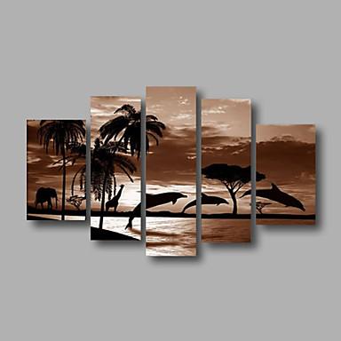 Pintura a Óleo Pintados à mão - Paisagem Paisagens Abstratas Modern Tela de pintura 5 Painéis