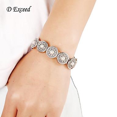 Feminino Pulseiras Strand Imitação de Pérola Prata Chapeada imitação de diamante Liga Moda Branco Jóias 1peça