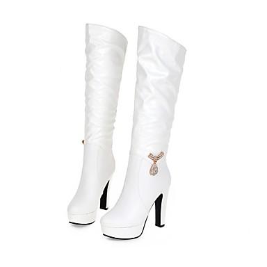 Automne 48 Blanc Chaussures Bottier Femme Cristal Talon pour Bottes carrière cm 56 Similicuir Bureau Habillé 04641640 et Décontracté 35 30 à Hiver Xntw4R0Rx