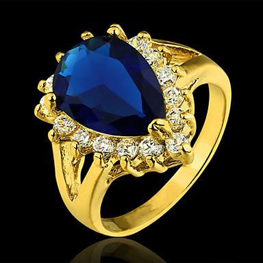Evlilik Yüzükleri Kübik Zirconia Altın Kaplama Moda Zarif Koyu Mavi Mücevher Parti 1pc