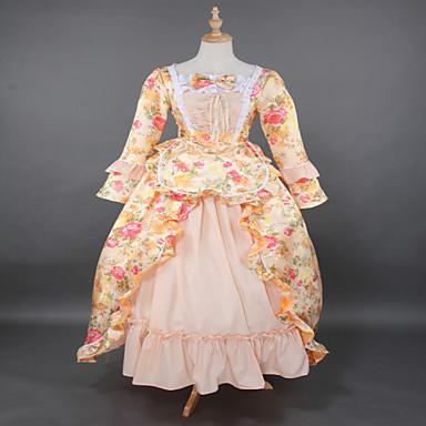 Gotik Lolita Steampunk® Rococo Dantel Saten Kadın's Elbiseler Cosplay Çiçekli Uzun Kollu Uzun (L)