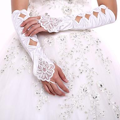 Elegant Satin Elbow Length Gloves Party/Evening Fingerless Gloves Wedding Dress Accessories+DIY Pearls and Rhinestones