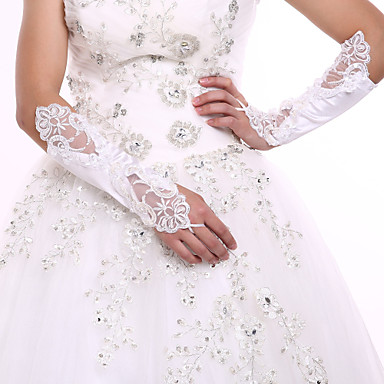 Spandex Lace Elbow Length Glove Bridal Gloves Party / Evening Gloves With Pearl Sequin