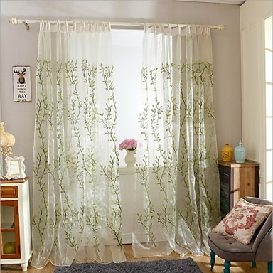 Rod Pocket Grommet Top Tab Top Double Pleat Pencil Pleat Two Panels Curtain Modern , Embroidery Bedroom Polyester Material Curtains Drapes