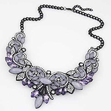 Women's Statement Necklace  -  Luxury Statement Fashion Gold Purple Necklace For