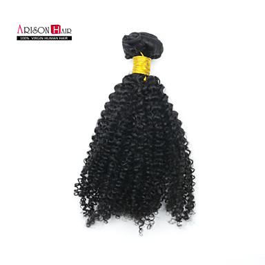 baratos Extensões de Cabelo Natural-Cabelo Malaio Kinky Curly 8A Cabelo Humano Ondulado Tramas de cabelo humano Extensões de cabelo humano / Crespo Cacheado