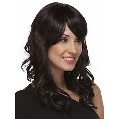 Syntetiske parykker Bølget Syntetisk hår Parykk Lokkløs Svart