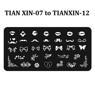 6pcs Nail Art Stamping Plates DIY Polish Print Stencil Manicure Nail Stamp Template (Tian Xin 07-12)