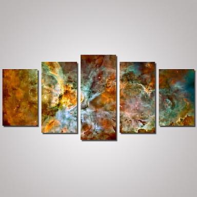 billige Trykk-Trykk Valset lerretskunst - Landskap Kart Abstrakte Landskap Tradisjonell Fem Paneler Kunsttrykk