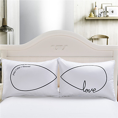 Comfortable - 2pcs Pillowcases All Seasons 80% Goose Down / 20% Goose Feather Print