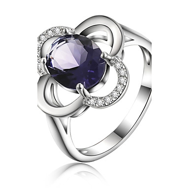 Women's Crystal Statement Ring - Silver Plated Flower 8 For Wedding / Party / Daily